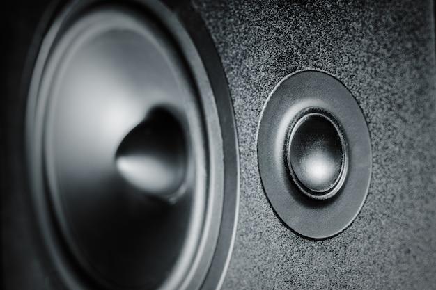 Крупный план высокочастотных и низкочастотных динамиков, мембранный звуковой динамик