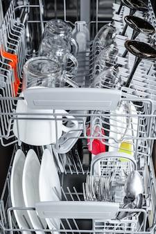 食器洗い機の中の皿をきれいにする