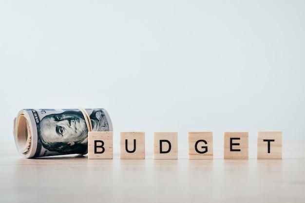Свернутые долларовые купюры и слово бюджет на белом