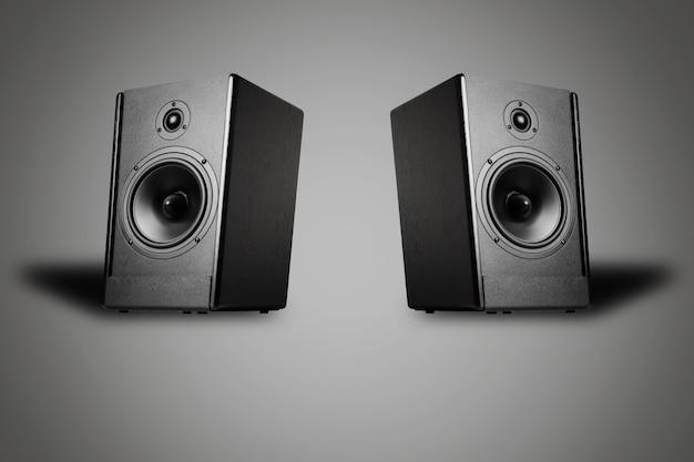 Два звуковых динамика на сером фоне