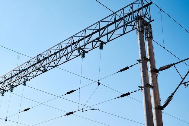 青い空を背景に電車の電力線。鉄道電化システムのクローズアップ