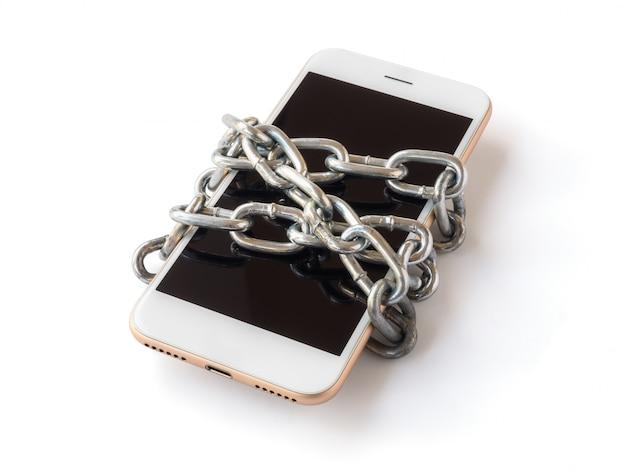 チェーンロック付き携帯電話