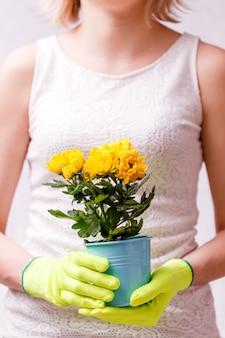 黄色の花とポットを保持しているゴム手袋の女性の写真