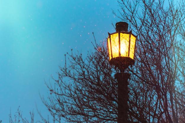 街路灯、ビンテージゴシック様式のコピースペース