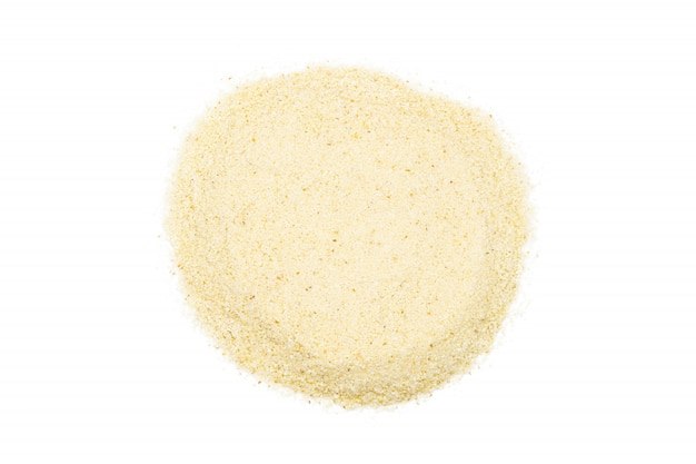 セモリナの束、クローズアップ、マクロ、トップビュー。料理に人気の小麦粉。
