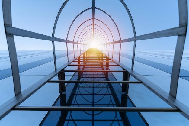 天国への階段のコンセプト。近代的なショッピングセンターの避難階段