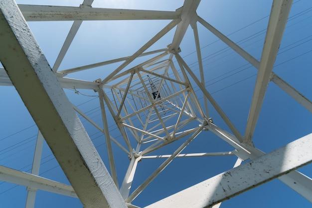 送電鉄塔、下からの眺め。