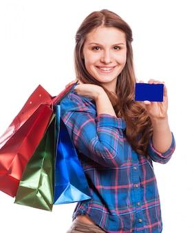 幸せな女、クレジットカードで買い物