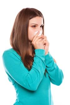 病気の女性。インフルエンザ。女性は風邪をひいた。