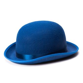 白地に青い山高帽