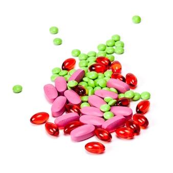 異なる錠剤丸薬カプセルヒープミックス療法薬医師インフルエンザ抗生物質薬局医療