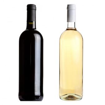 白地に赤と白のワインボトル