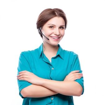 幸せな笑顔の陽気な若者サポート電話オペレーターの肖像画