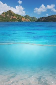 山の頂上と水中の砂と海