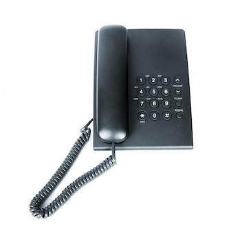 分離された黒のオフィス電話