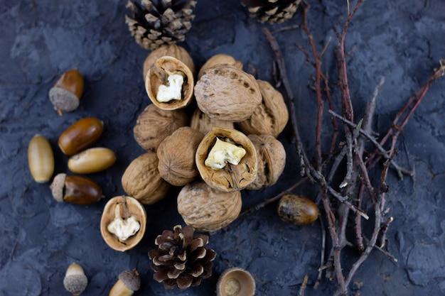 Куча грецких орехов с желудями, готовые к зимнему сезону. урожай на зиму
