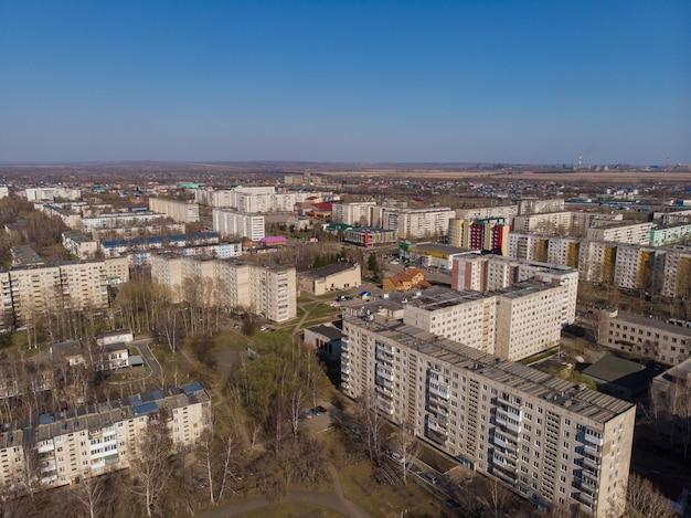 夏の風景のザリンスク町の空撮