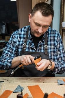 革製品の手作りクラフト生産のコンセプト。