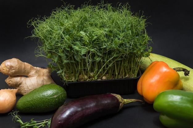 マイクログリーンもやしと野菜
