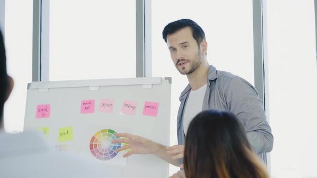 成功したハンサムなスマートアジアの創造的なビジネスマンは彼の同僚に創造的な仕事を提示します。
