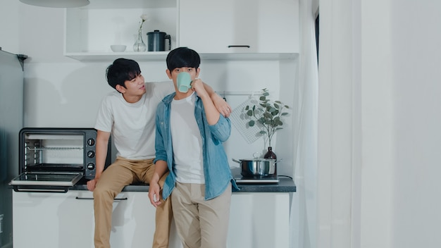 Азиатская пара геев, пить кофе, прекрасно провести время в домашних условиях. молодые красивые лгбтк + мужчины, разговаривающие с удовольствием, отдыхают вместе, проводят романтическое время на современной кухне у себя дома утром.