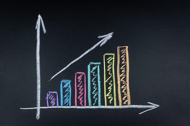 黒板にビジネスグラフ