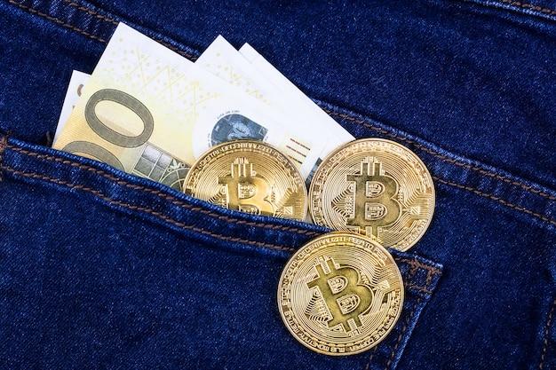 ビットコインとユーロ紙幣