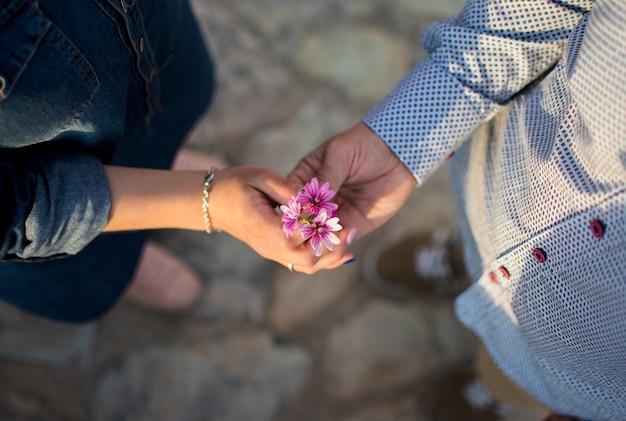 夕暮れ時の花とカップルの手