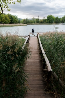 湖の歩道橋の冒険家男