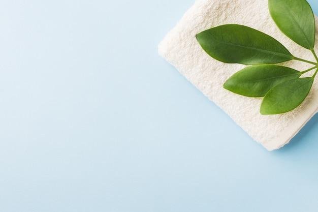 Концепция курорта зеленых лист и полотенца на голубой предпосылке.