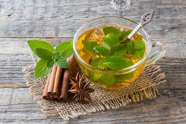 Чашка чая со свежими листьями мяты и анисом с корицей