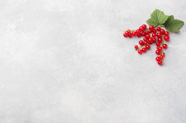 コピースペースを持つ灰色のテーブルに新鮮な果実赤スグリ。