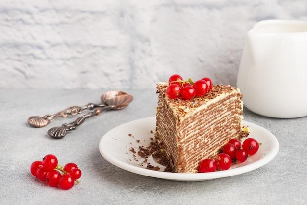 薄いチョコレートのパンケーキとピスタチオクリームと赤スグリの実のケーキ