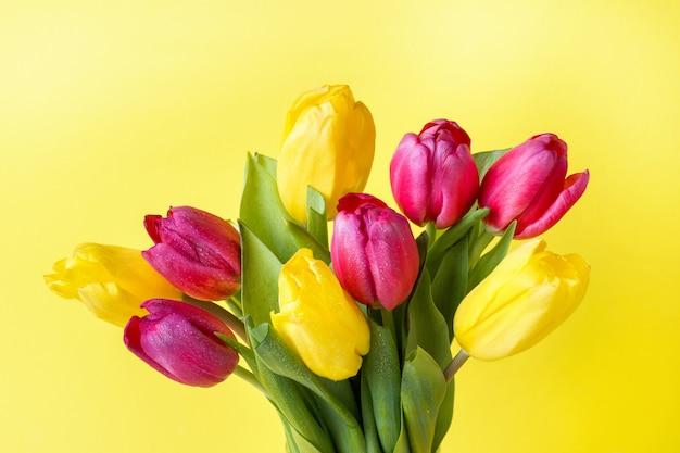 黄色の背景に黄色とピンクのチューリップの花束。
