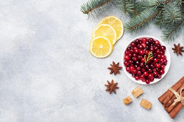 Свежие сырые ягоды клюквы и лимона в тарелку на сером фоне с копией пространства.