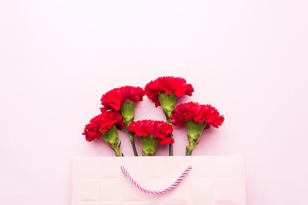 コピースペースとピンクの背景に赤いカーネーション。母の日カード、バレンタインの日。