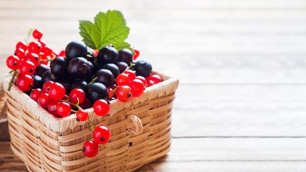 コピースペースを持つ木製のバスケットで新鮮な黒と赤スグリの果実。