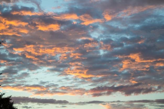 劇的な青とピンクの雲と雨の後のカラフルな夏の夕日
