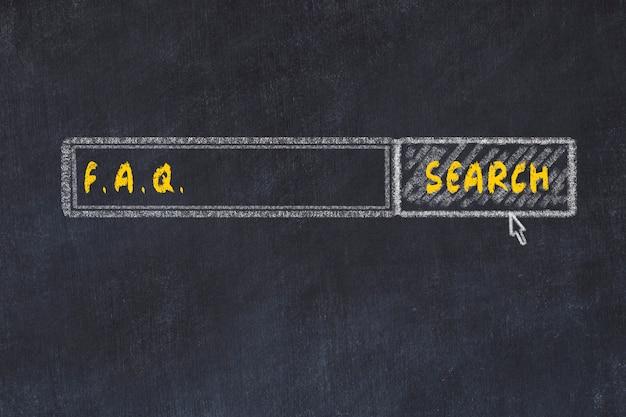 検索エンジンのチョークボードスケッチ。よくある質問を探しての概念
