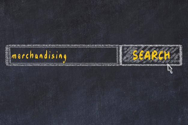 Рисунок на доске в окне поискового браузера и надписи мерчендайзинга