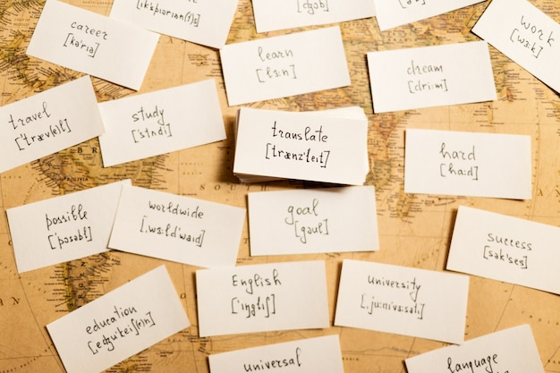 英語の単語を学びます。翻訳する