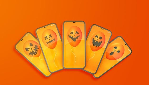 Хэллоуин шары на оранжевом фоне