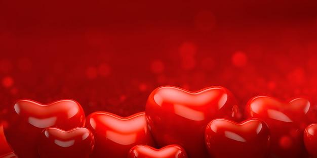 バレンタインの赤いハートの背景