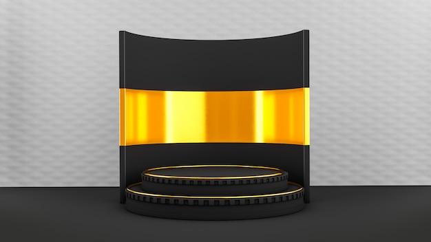 Постамент с черно-золотой сценой