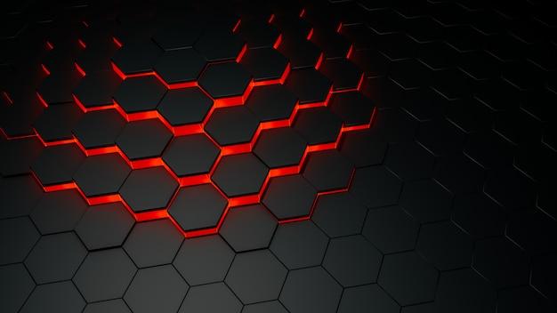 黒い六角形の抽象的な表面