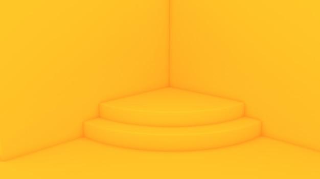 Желтый уголок в форме фона с постаментом, чтобы представить продукт