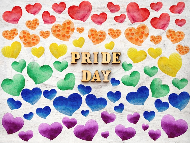 Текст гордости день с сердечками. концепция лгбтк