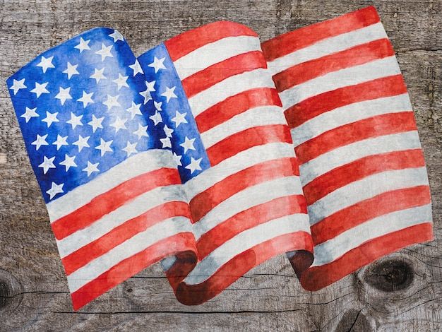 Красивый рисунок американского флага. крупный план