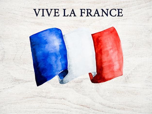 フランスの旗。美しいグリーティングカード。