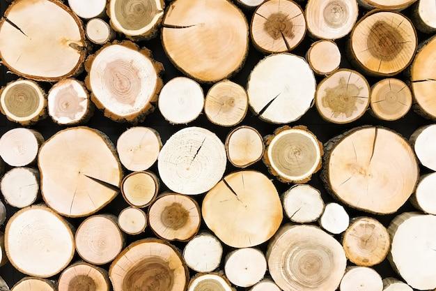 丸いチーク木の切り株の背景